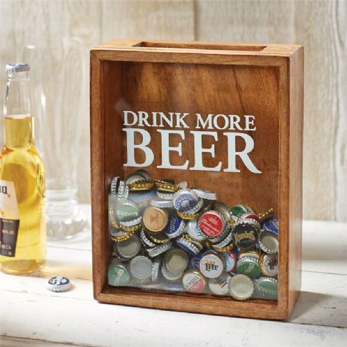 DRINK MORE BEER wooden beer bottle cap Display Box